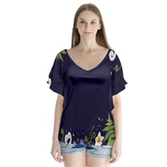 Spring Wind Flower Floral Leaf Star Purple Green Frame Flutter Sleeve Top