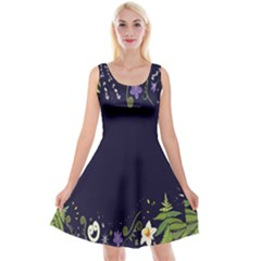 Spring Wind Flower Floral Leaf Star Purple Green Frame Reversible Velvet Sleeveless Dress