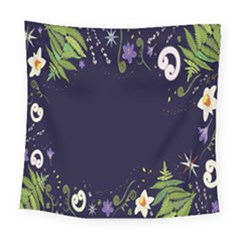 Spring Wind Flower Floral Leaf Star Purple Green Frame Square Tapestry (large)