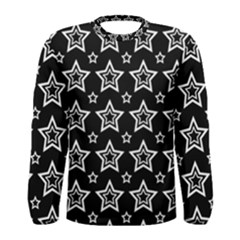 Star Black White Line Space Men s Long Sleeve Tee