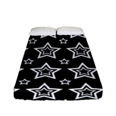 Star Black White Line Space Fitted Sheet (full/ Double Size) by Alisyart