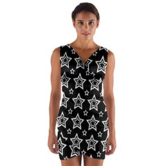 Star Black White Line Space Wrap Front Bodycon Dress