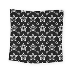 Star Black White Line Space Square Tapestry (small) by Alisyart