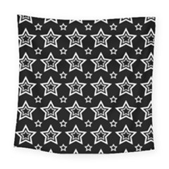 Star Black White Line Space Square Tapestry (large) by Alisyart