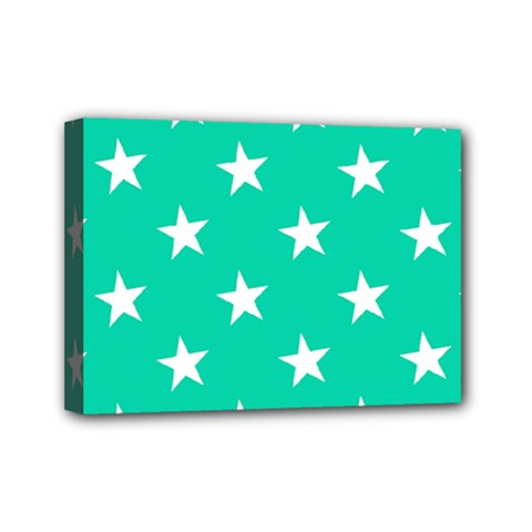 Star Pattern Paper Green Mini Canvas 7  X 5
