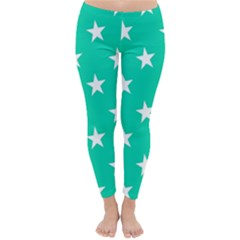 Star Pattern Paper Green Classic Winter Leggings