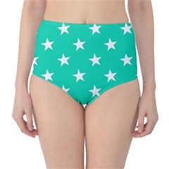 Star Pattern Paper Green High-waist Bikini Bottoms by Alisyart