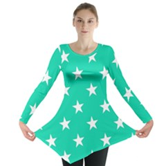 Star Pattern Paper Green Long Sleeve Tunic