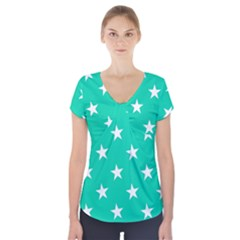 Star Pattern Paper Green Short Sleeve Front Detail Top by Alisyart