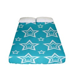 Star Blue White Line Space Sky Fitted Sheet (full/ Double Size) by Alisyart