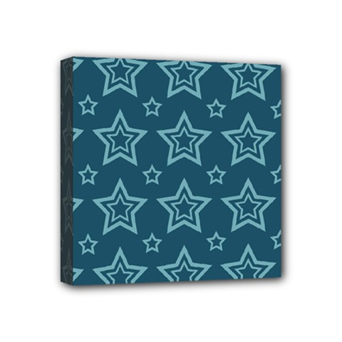 Star Blue White Line Space Mini Canvas 4  X 4