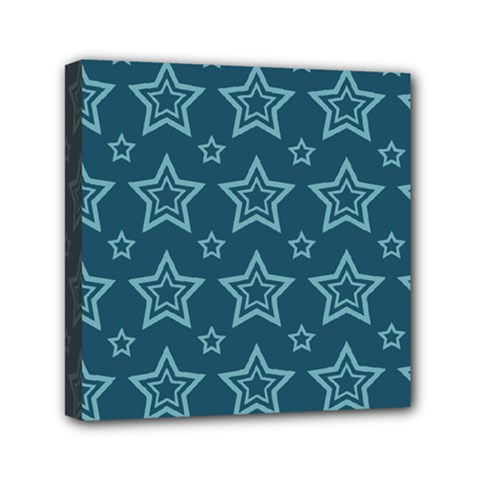 Star Blue White Line Space Mini Canvas 6  X 6  by Alisyart