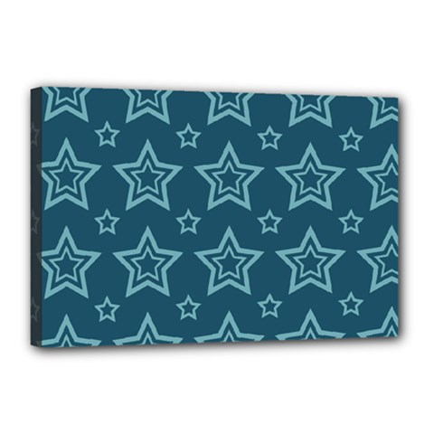 Star Blue White Line Space Canvas 18  X 12  by Alisyart