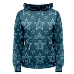 Star Blue White Line Space Women s Pullover Hoodie