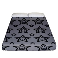 Star Grey Black Line Space Fitted Sheet (king Size) by Alisyart