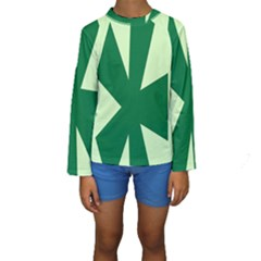 Starburst Shapes Large Circle Green Kids  Long Sleeve Swimwear by Alisyart