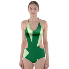 Starburst Shapes Large Circle Green Cut Out One Piece Swimsuit