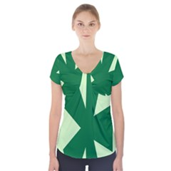 Starburst Shapes Large Circle Green Short Sleeve Front Detail Top by Alisyart