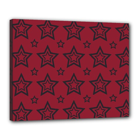 Star Red Black Line Space Canvas 20  X 16