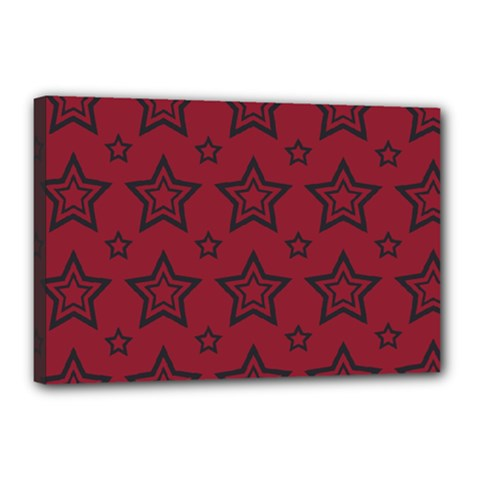Star Red Black Line Space Canvas 18  X 12  by Alisyart