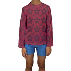 Star Red Black Line Space Kids  Long Sleeve Swimwear by Alisyart
