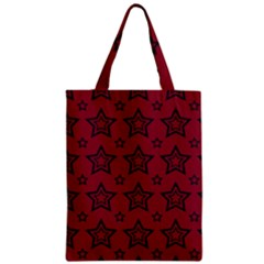 Star Red Black Line Space Zipper Classic Tote Bag