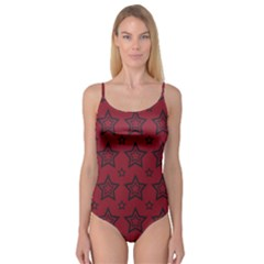 Star Red Black Line Space Camisole Leotard