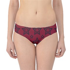 Star Red Black Line Space Hipster Bikini Bottoms by Alisyart