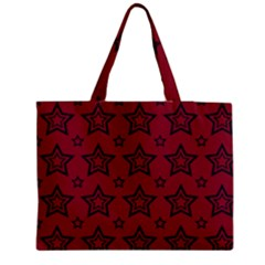 Star Red Black Line Space Medium Tote Bag by Alisyart