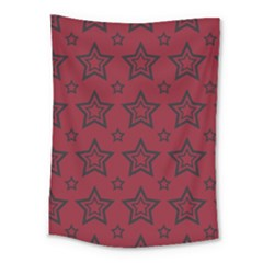 Star Red Black Line Space Medium Tapestry