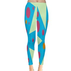 Starburst Shapes Large Circle Green Blue Red Orange Circle Classic Winter Leggings