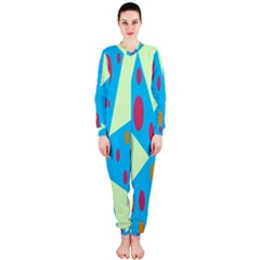 Starburst Shapes Large Circle Green Blue Red Orange Circle Onepiece Jumpsuit (ladies)  by Alisyart
