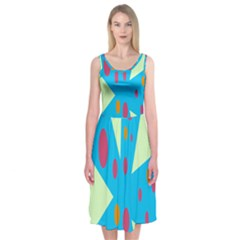 Starburst Shapes Large Circle Green Blue Red Orange Circle Midi Sleeveless Dress