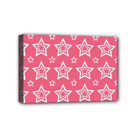 Star Pink White Line Space Mini Canvas 6  X 4  by Alisyart