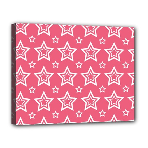 Star Pink White Line Space Canvas 14  X 11