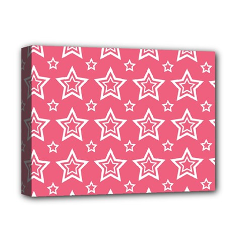 Star Pink White Line Space Deluxe Canvas 16  X 12   by Alisyart