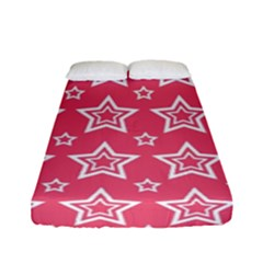 Star Pink White Line Space Fitted Sheet (full/ Double Size) by Alisyart