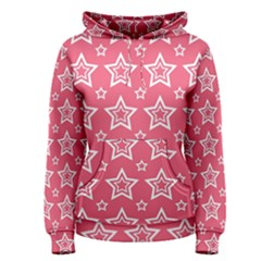 Star Pink White Line Space Women s Pullover Hoodie
