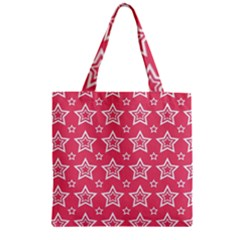 Star Pink White Line Space Zipper Grocery Tote Bag by Alisyart