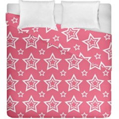 Star Pink White Line Space Duvet Cover Double Side (king Size) by Alisyart