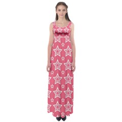 Star Pink White Line Space Empire Waist Maxi Dress