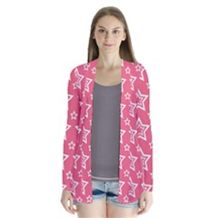 Star Pink White Line Space Cardigans