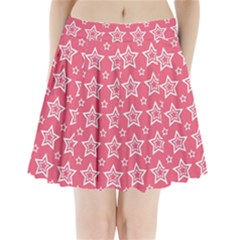 Star Pink White Line Space Pleated Mini Skirt