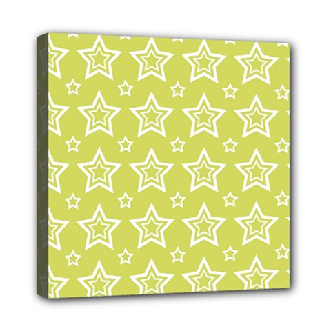 Star Yellow White Line Space Mini Canvas 8  X 8  by Alisyart