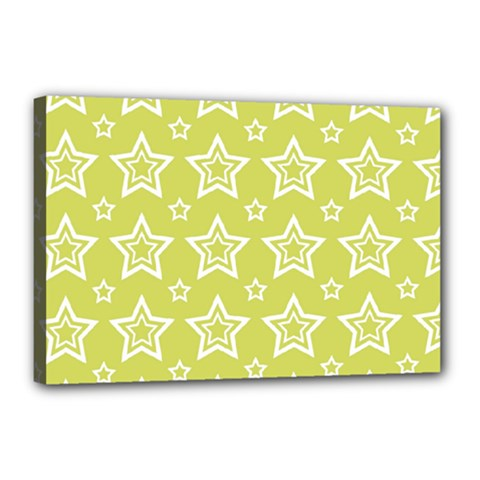 Star Yellow White Line Space Canvas 18  X 12  by Alisyart