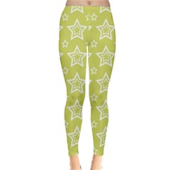 Star Yellow White Line Space Classic Winter Leggings
