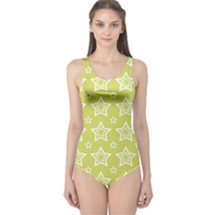 Star Yellow White Line Space One Piece Swimsuit by Alisyart