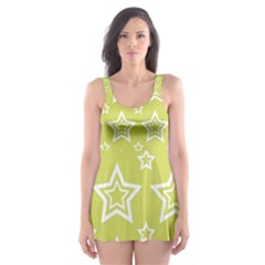 Star Yellow White Line Space Skater Dress Swimsuit by Alisyart