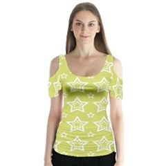 Star Yellow White Line Space Butterfly Sleeve Cutout Tee  by Alisyart