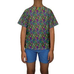 Pattern Abstract Paisley Swirls Kids  Short Sleeve Swimwear by Simbadda